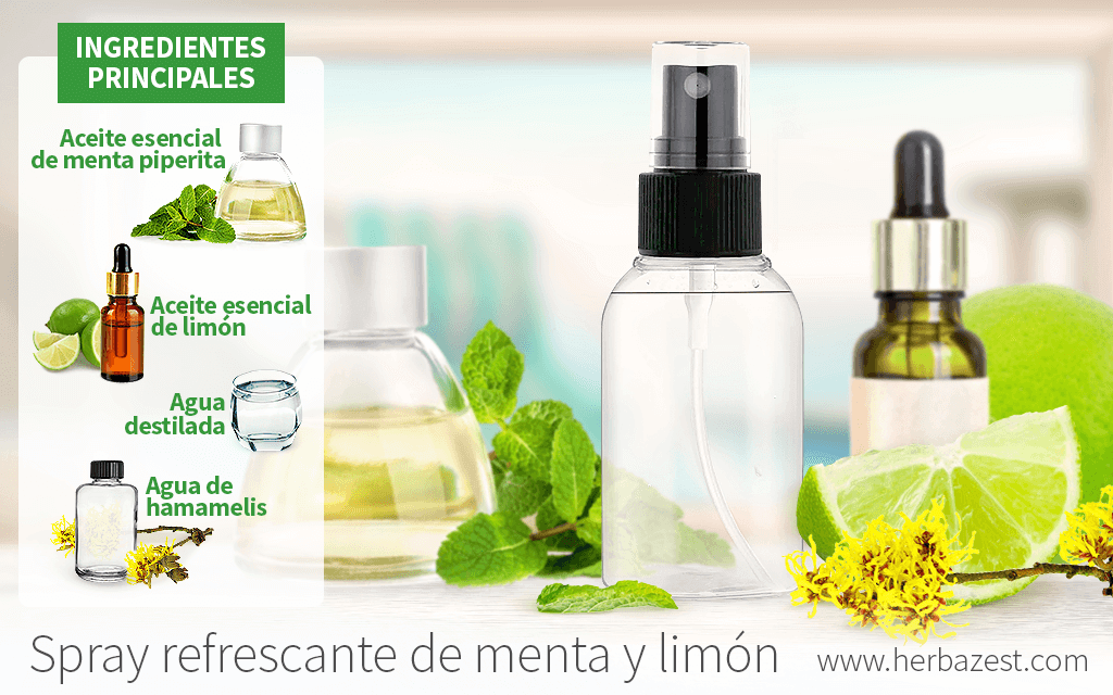 Spray refrescante de menta y limón