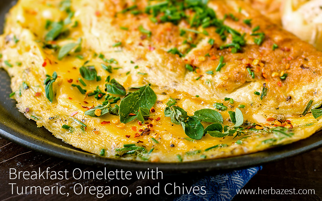 Breakfast Omelette with Turmeric, Oregano, and Chives