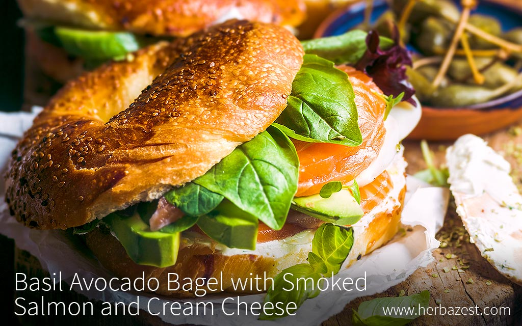 Basil Avocado Bagel with Smoked Salmon and Cream Cheese