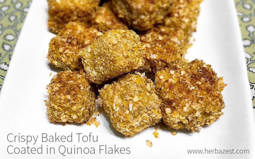 Crispy Baked Tofu Coated in Quinoa Flakes