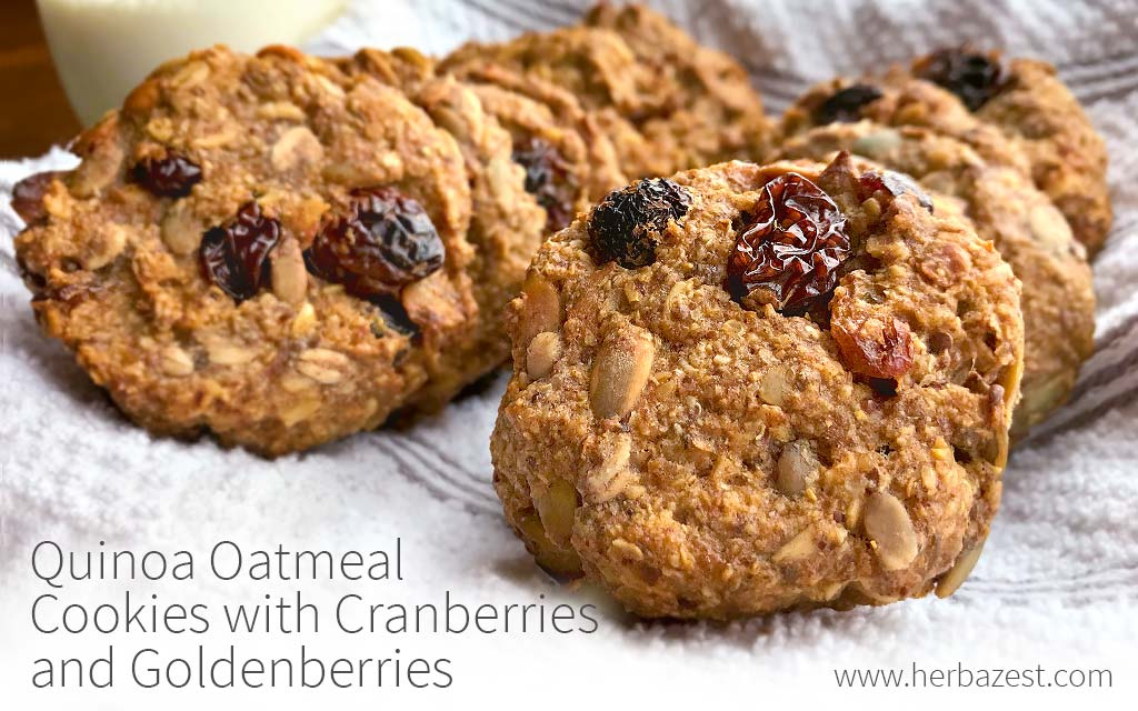 Quinoa Oatmeal Cookies with Cranberries and Goldenberries