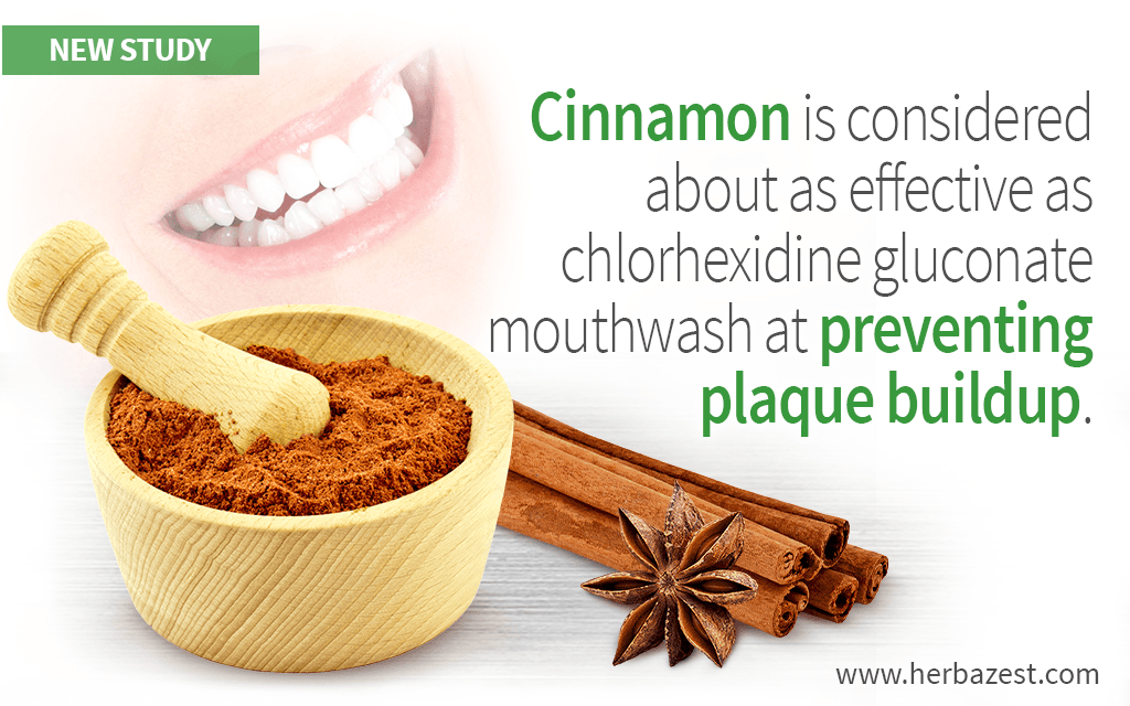 Cinnamon is considered about as effective as chlorhexidine gluconate mouthwash at preventing plaque buildup.