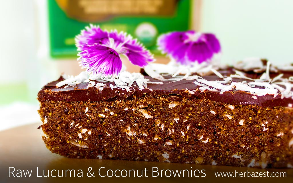 Raw Lucuma & Coconut Brownies