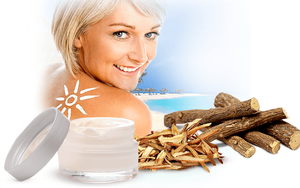 Licochalcone A, extracted from licorice, helps to protect the skin from the sun's rays.