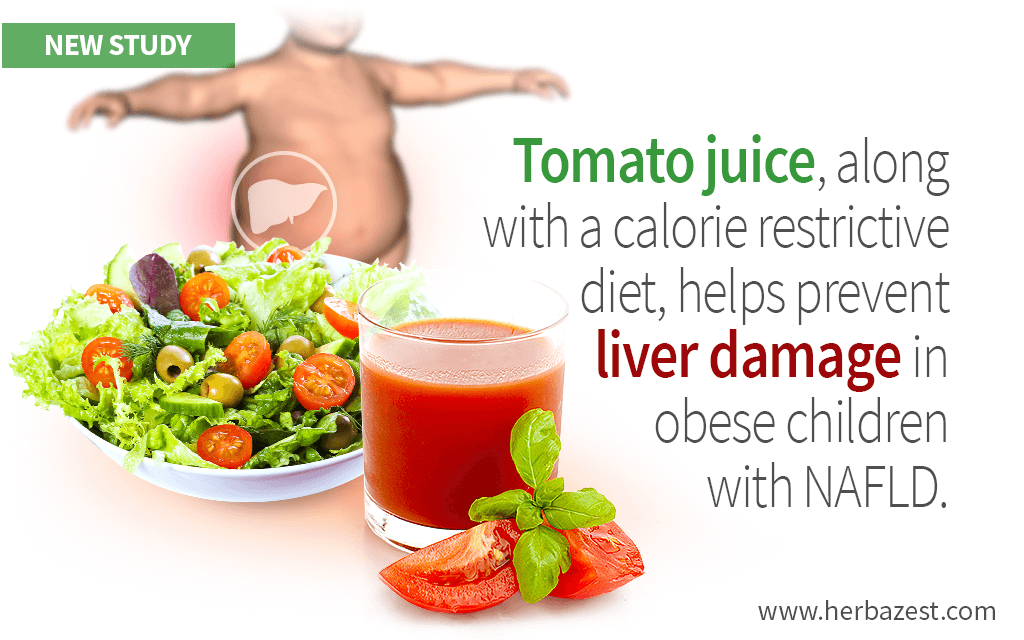 Tomato Juice Found Beneficial for Obese Children with Liver Disease