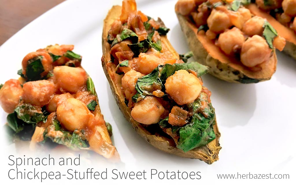 Spinach and Chickpea-Stuffed Sweet Potatoes