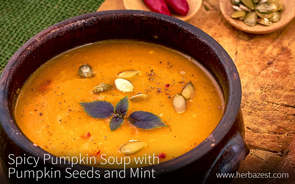 Spicy Pumpkin Soup with Pumpkin Seeds and Mint