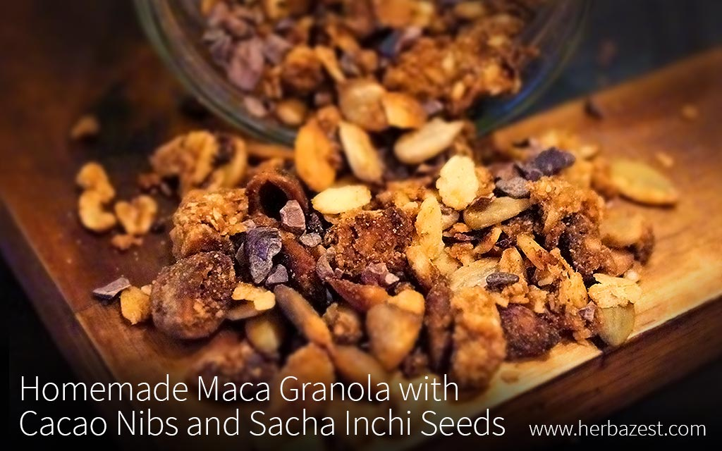 Homemade Maca Granola with Cacao Nibs and Sacha Inchi Seeds