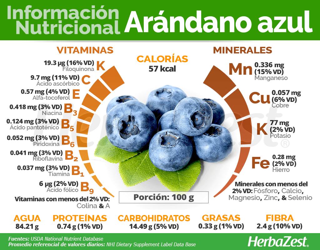 Información nutricional del arándano azul