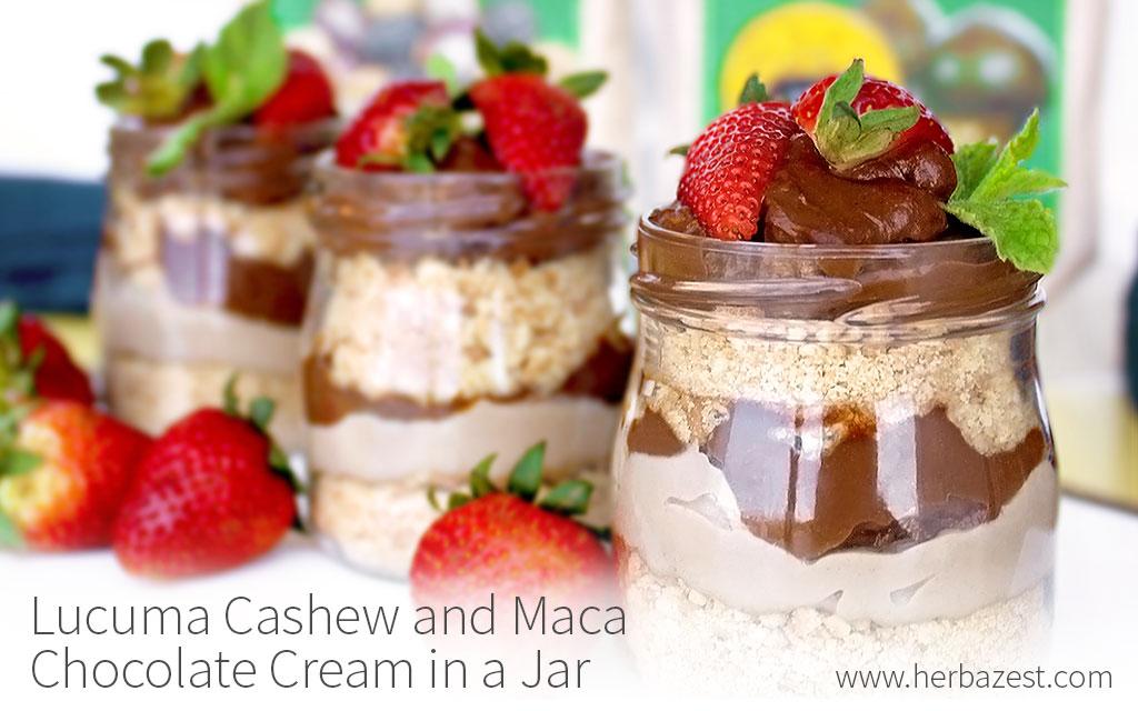 Lucuma Cashew and Maca Chocolate Cream in a Jar