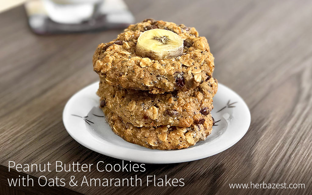 Peanut Butter Cookies with Oats & Amaranth Flakes