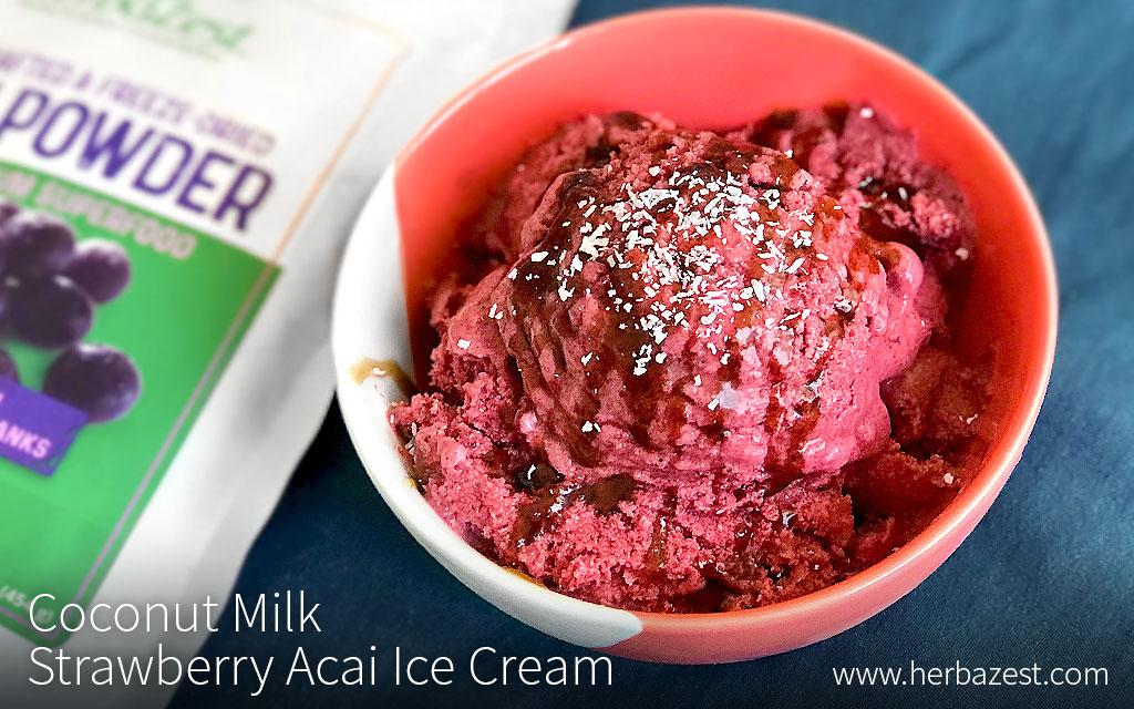 Coconut Milk Strawberry Acai Ice Cream