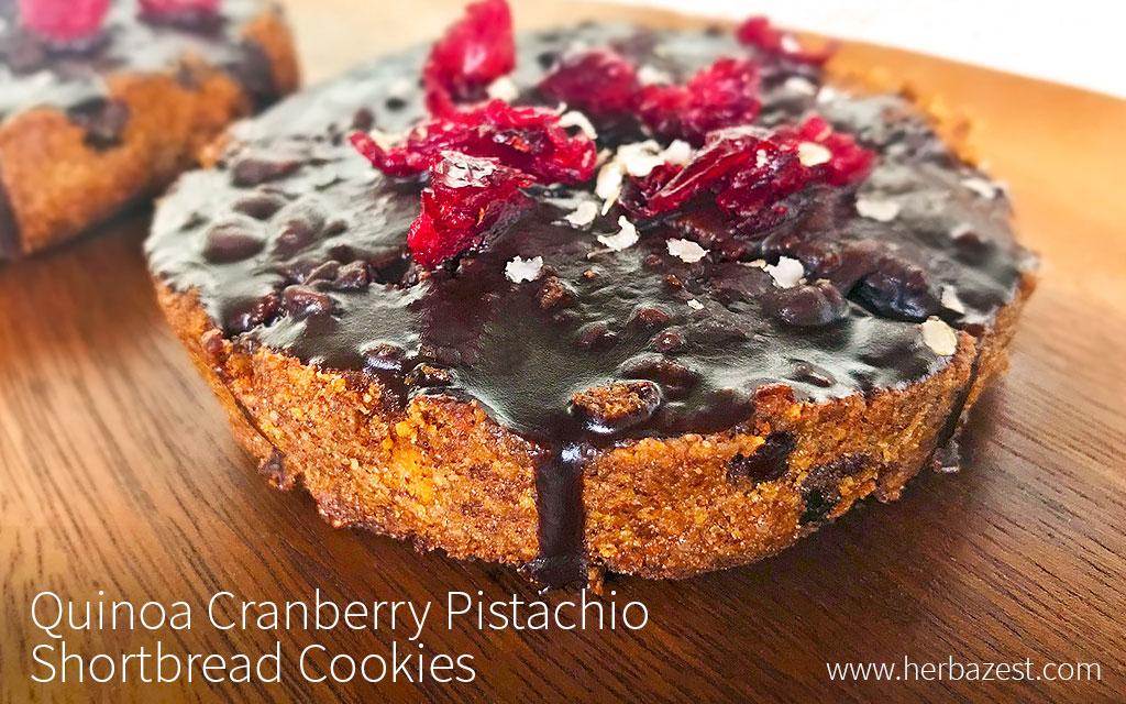 Quinoa Cranberry Pistachio Shortbread Cookies