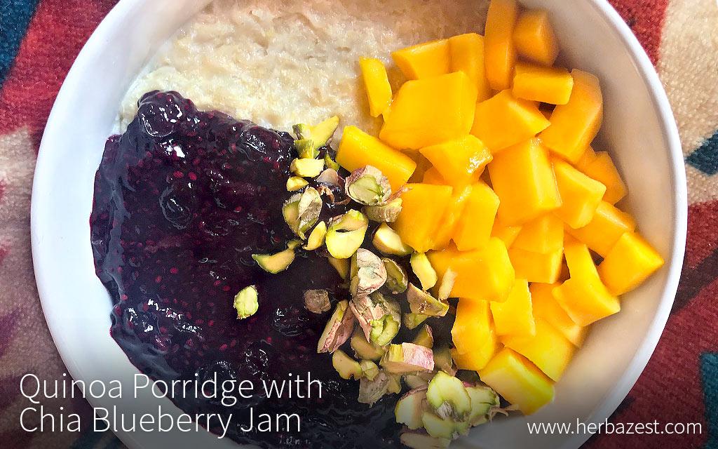 Quinoa Flake Porridge with Chia Blueberry Jam