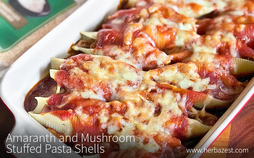 Amaranth and Mushroom Stuffed Pasta Shells