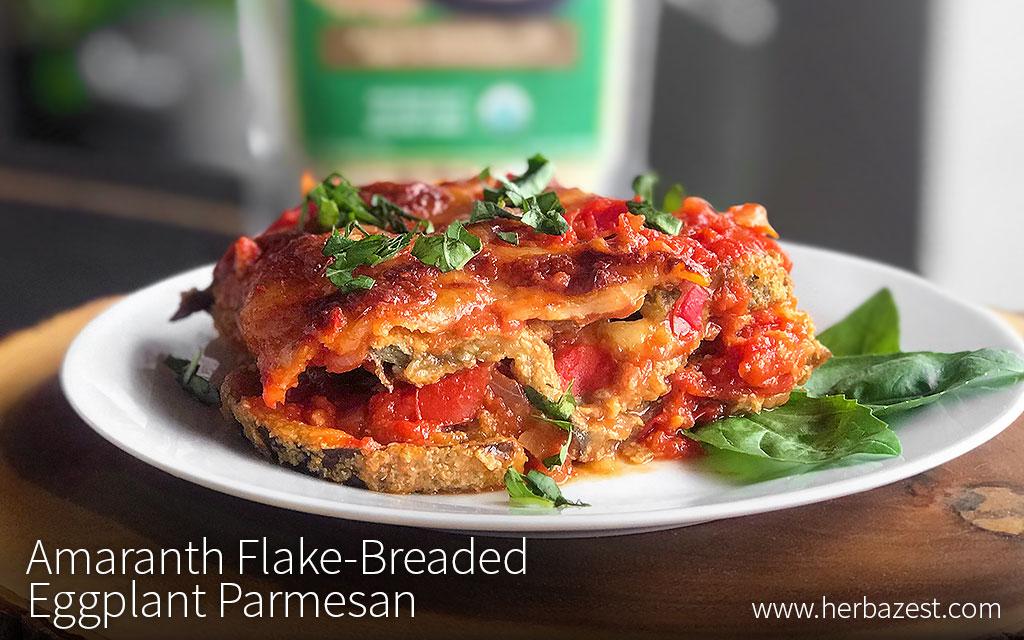 Amaranth Flake-Breaded Eggplant Parmesan