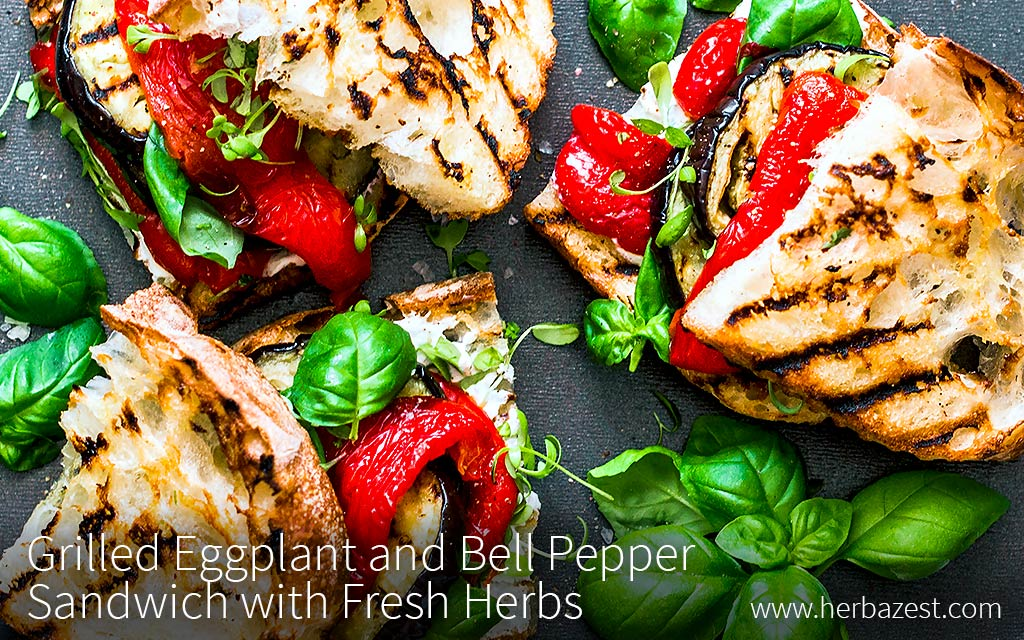 Grilled Eggplant and Bell Pepper Sandwich with Fresh Herbs