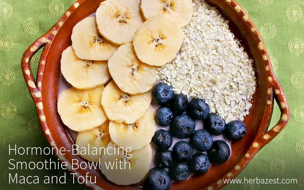 Hormone balancing smoothie bowl with maca, quinoa flakes, and tofu