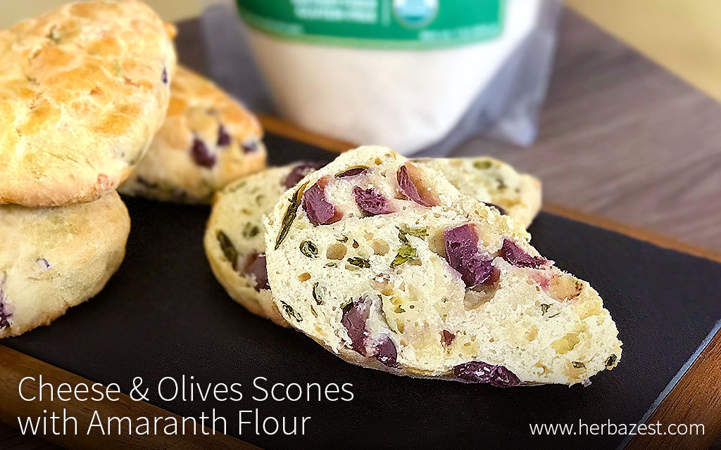 Cheese & Olives Scones with Amaranth Flour