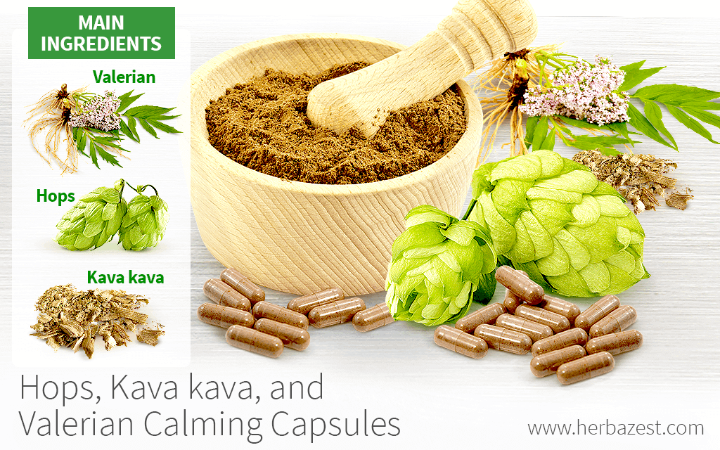 Hops, Kava kava, and Valerian Calming Capsules