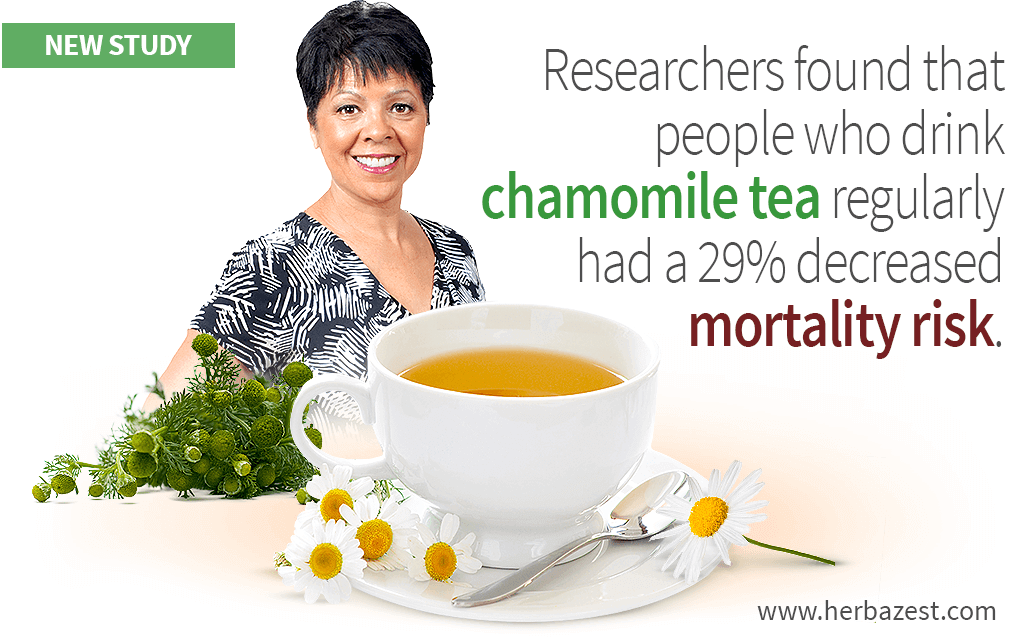 Researchers found that people who drink chamomile tea regularly had a 29% decreased mortality risk.