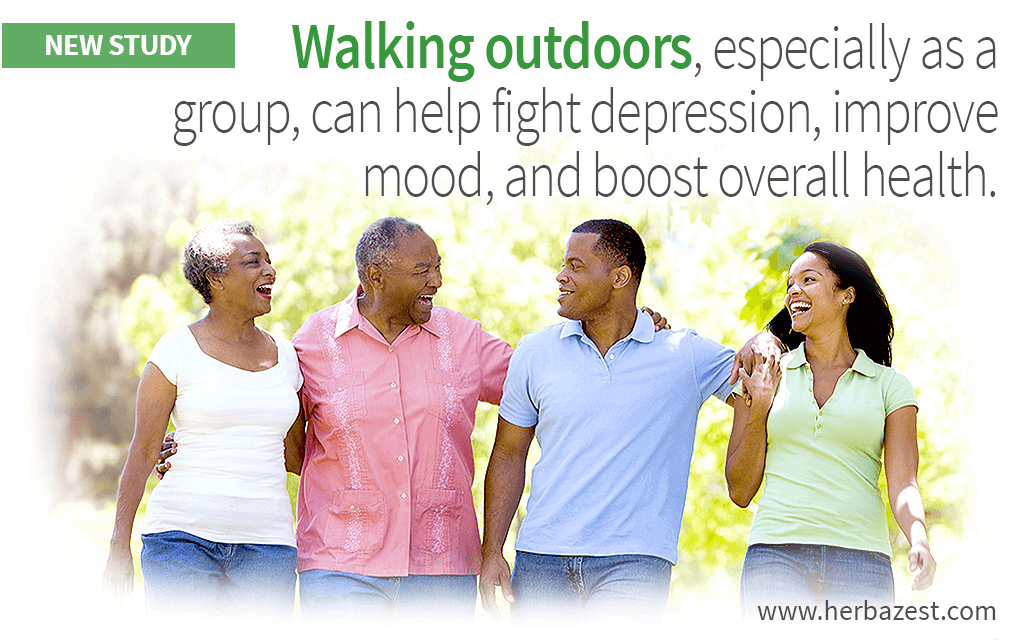 Walking outdoors, especially as a group, can help fight depression, improve mood, and boost overall health.