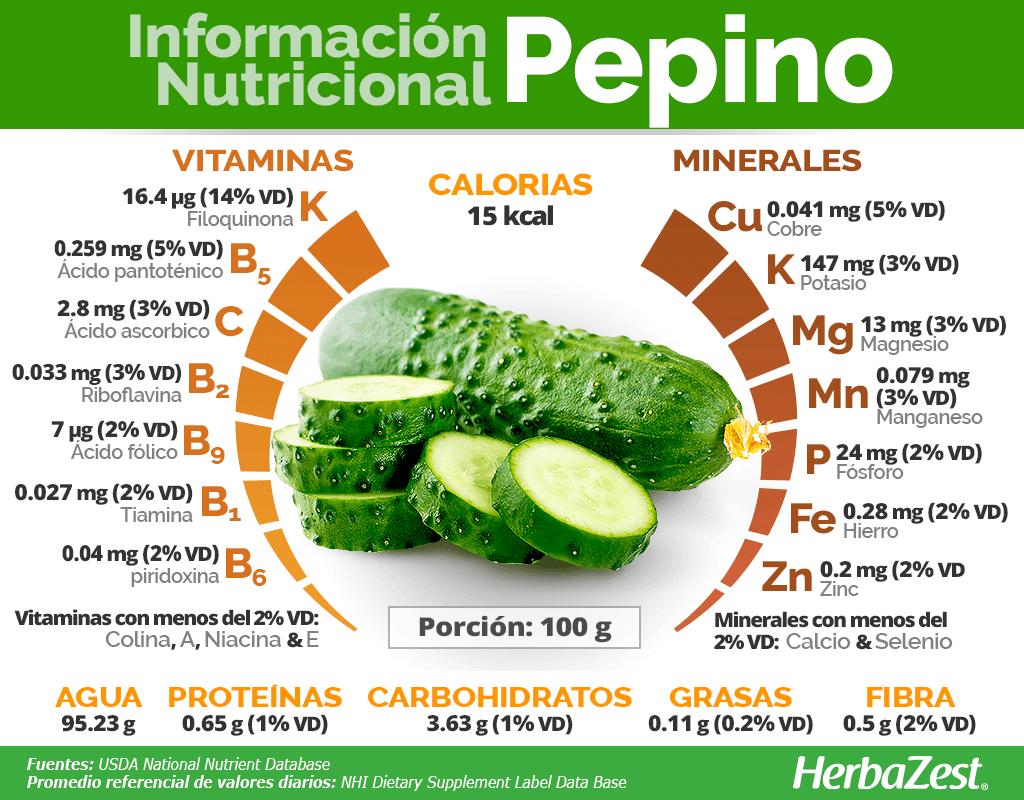 Información nutricional del pepino