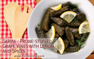 Sarma - Prune-stuffed Grape Vines with Lemon and Spices