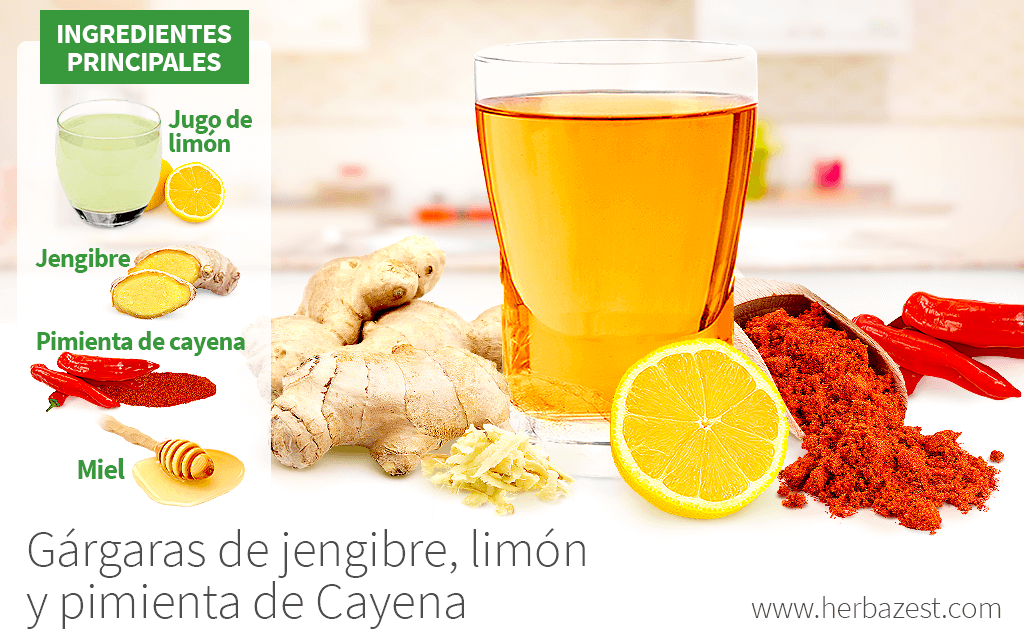 Gárgaras de jengibre, limón y pimienta de Cayena