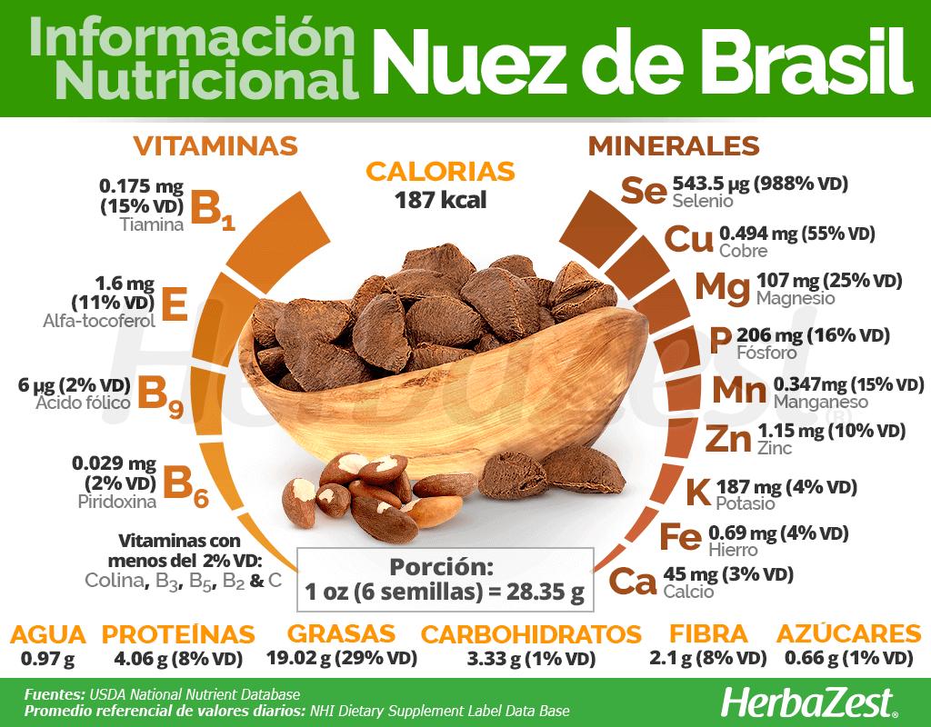 Información nutricional de la nuez de Brasil