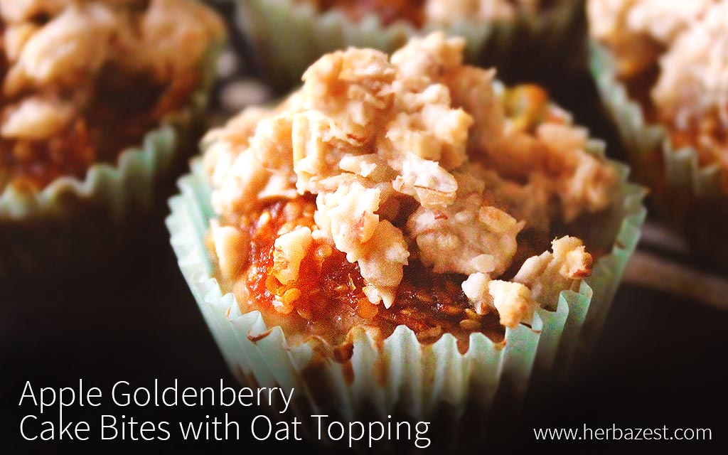 Apple Goldenberry Cake Bites with Oat Topping