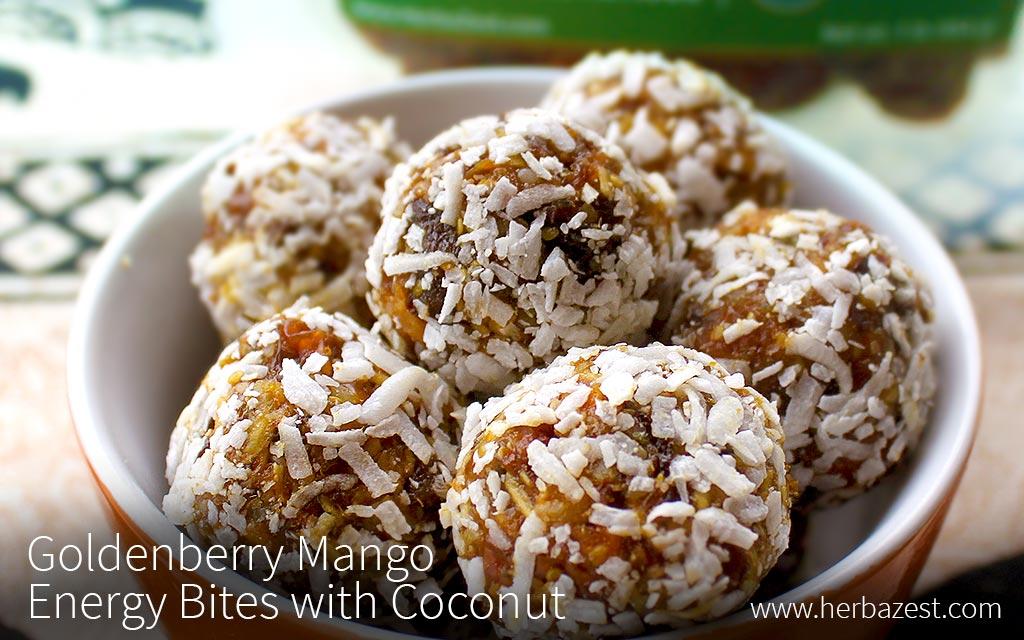 Goldenberry Mango Energy Bites with Coconut