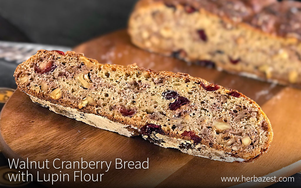 Walnut Cranberry Bread with Lupin Flour