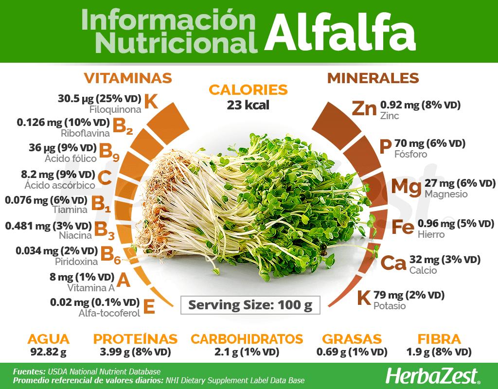 Información nutricional de la alfalfa