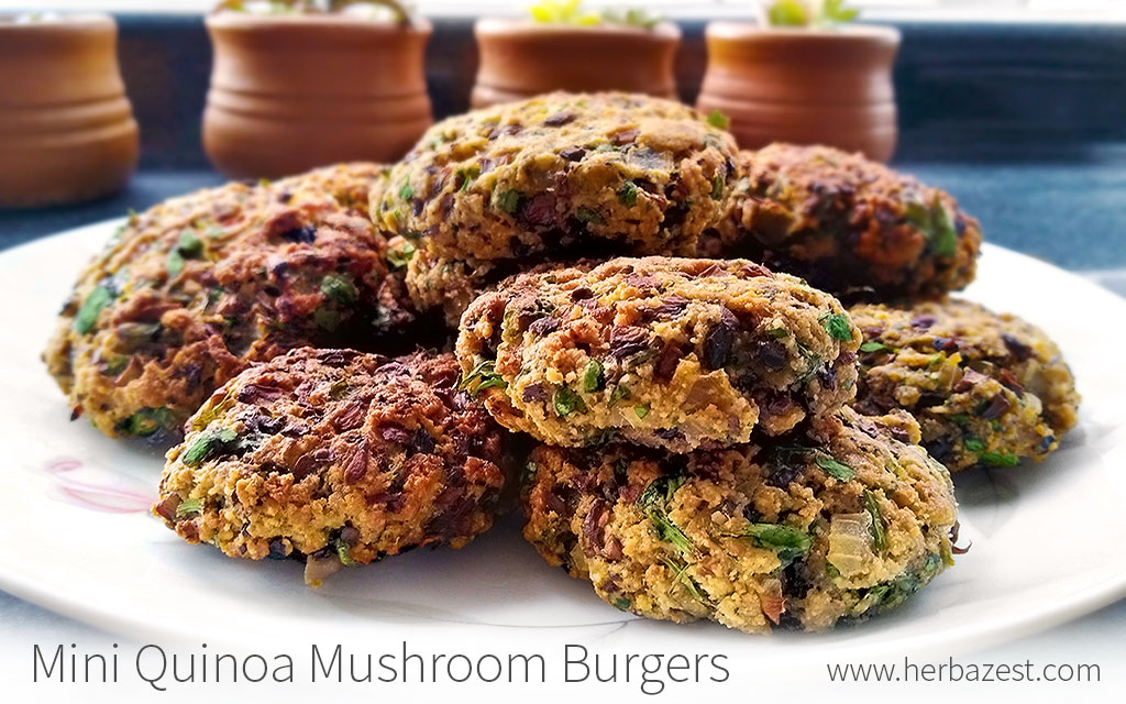 Mini Quinoa Mushroom Burgers