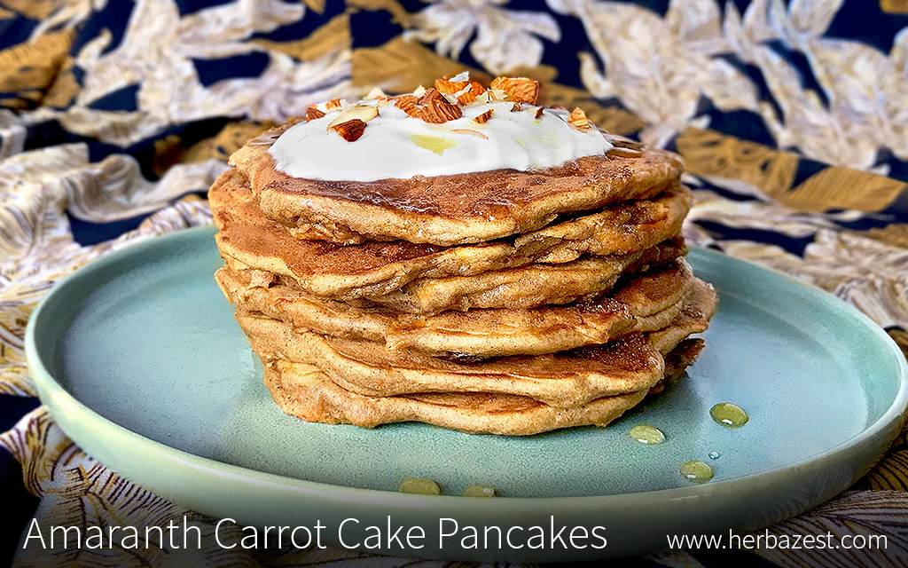 Amaranth Carrot Cake Pancakes