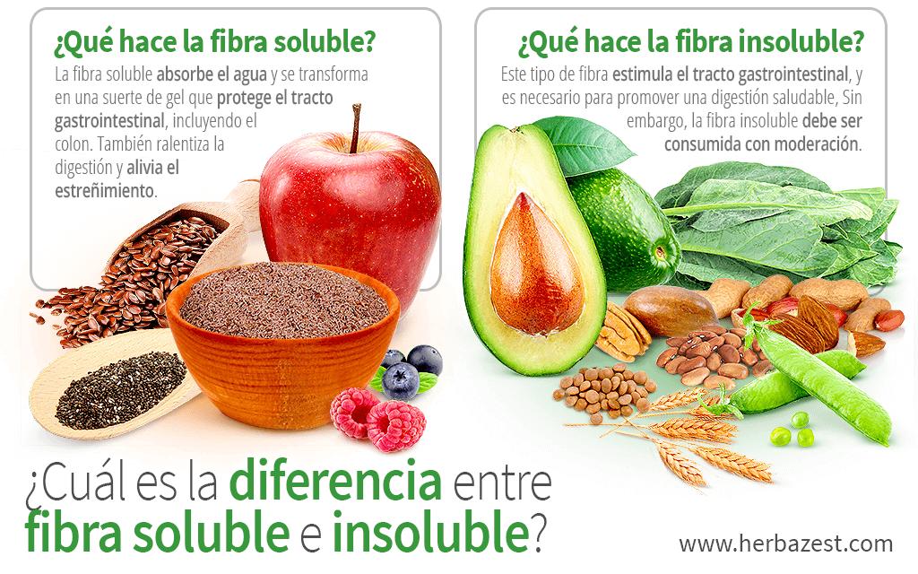 ¿Cuál es la diferencia entre fibra soluble e insoluble?