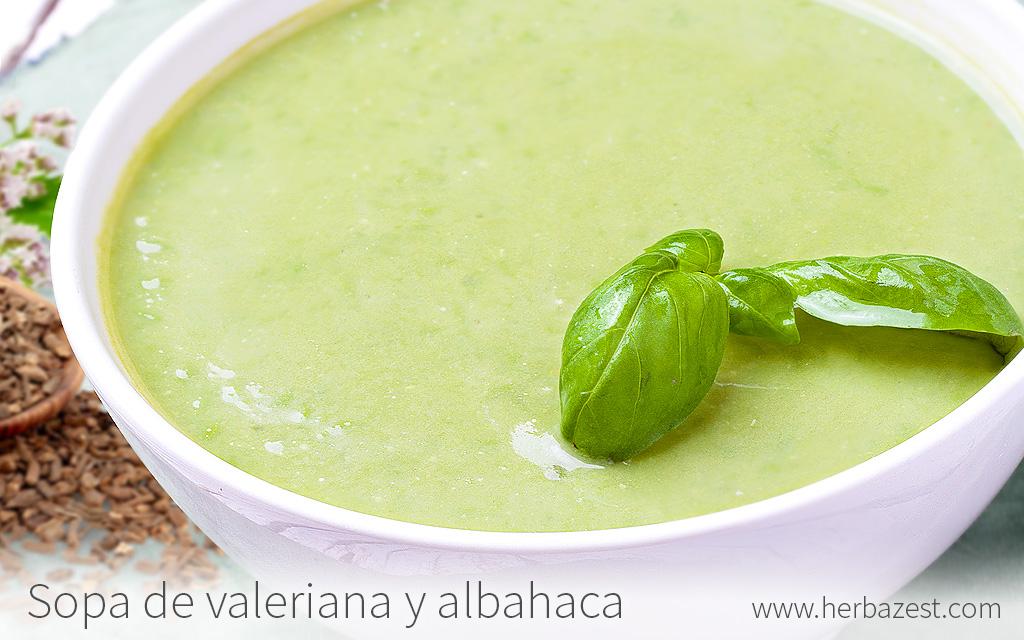 Sopa cremosa de albahaca y valeriana