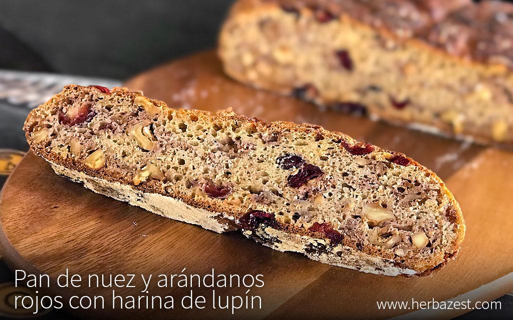 Pan de nuez y arándanos rojos con harina de lupín