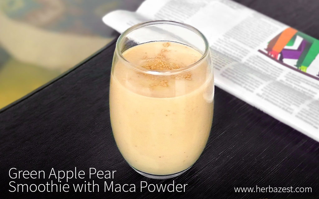 Green Apple Pear Smoothie with Maca Powder