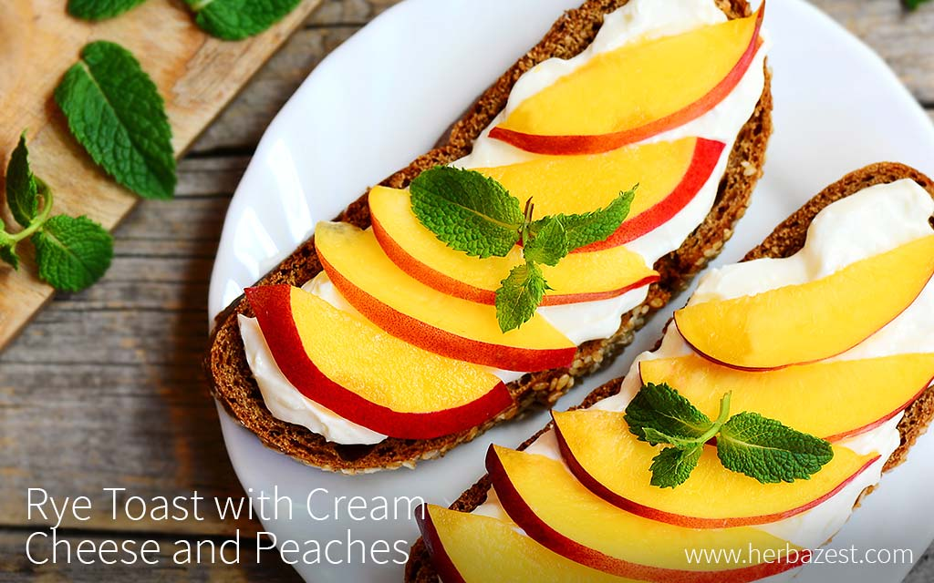 Rye Toast with Cream Cheese and Peaches