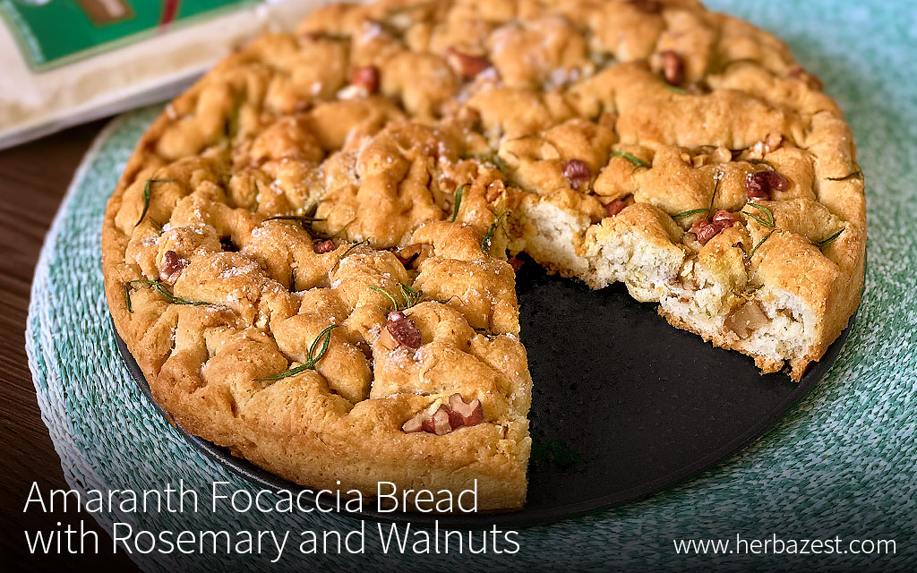 Amaranth Focaccia Bread with Rosemary and Walnuts