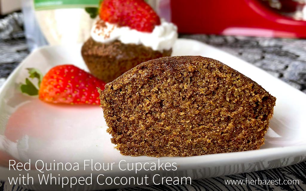 Red Quinoa Flour Cupcakes with Whipped Coconut Cream