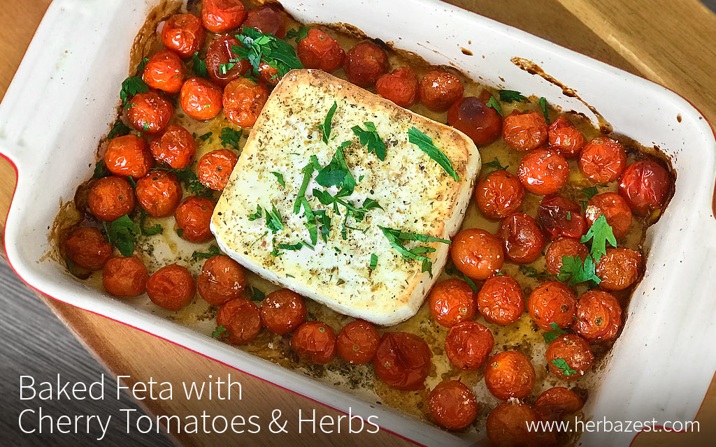Baked Feta with Cherry Tomatoes & Herbs