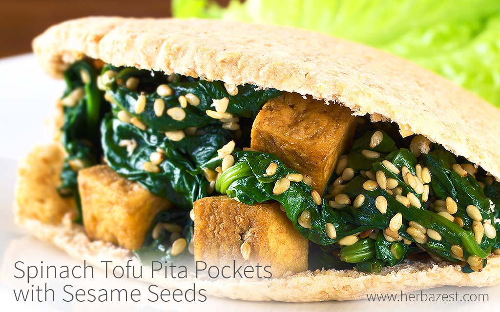 Spinach Tofu Pita Pockets with Sesame Seeds