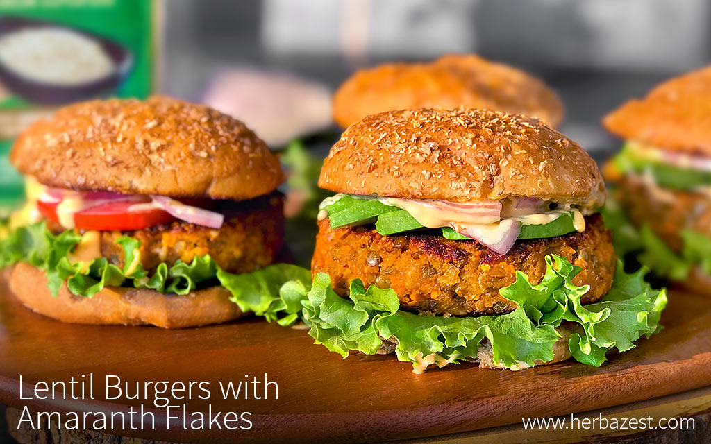 Lentil Burgers with Amaranth Flakes