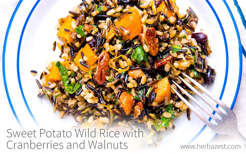 Sweet Potato Wild Rice with Cranberries and Walnuts