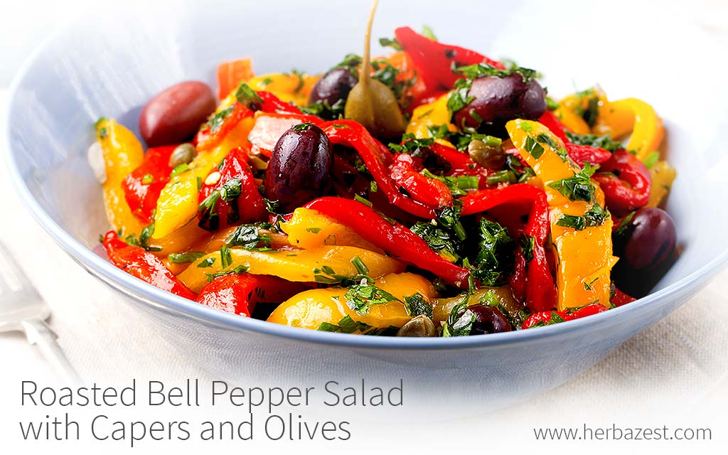 Roasted Bell Pepper Salad With Capers And Olives Herbazest