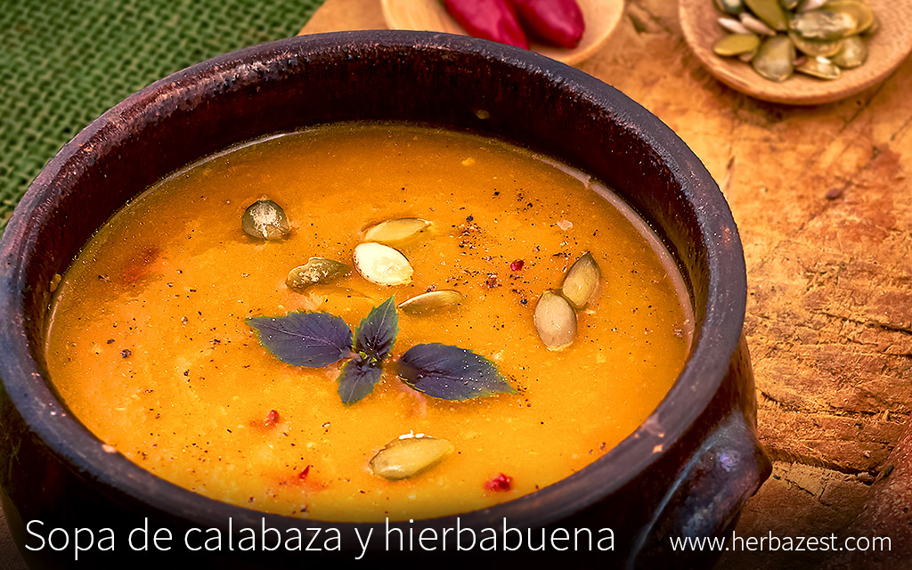 Sopa de calabaza y hierbabuena