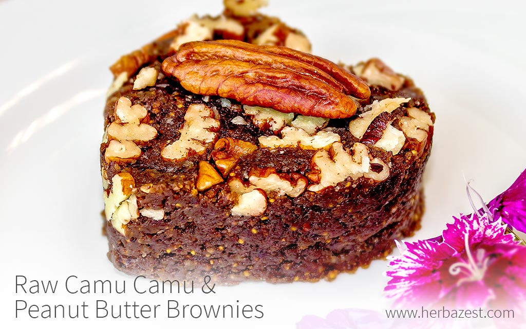 Raw Camu Camu & Peanut Butter Brownies